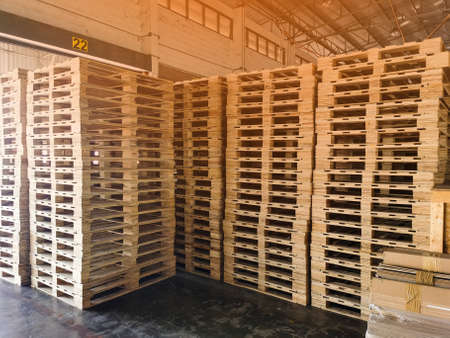 Wooden pallets stack in warehouse cargo storage, shipment in logistics and transportation industrial, wood pallets heap, delivery service 스톡 콘텐츠 - 155442064