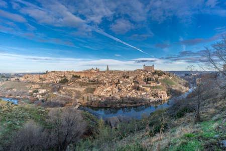 Toledo cityscape, Alcazar and the (Tajo) tagus river. UNESCO world heritage site.