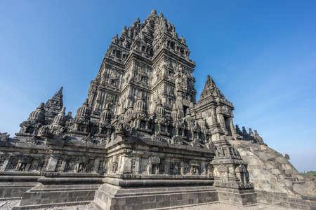 Side view of Candi Siwa (Shiva Temple) in Prambanan temple complex. 9th century Hindu temple compound located near Yogyakarta on Central Java, Indonesia Stock Photo