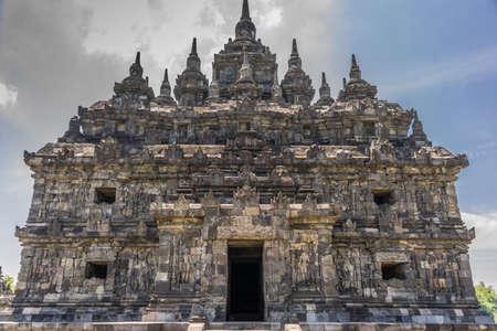 Facade of Plaosan Lor in Candi Plaosan Complex, 9th century Buddhist temple built by Sri Kahulunnan or Pramodhawardhani. Located in Bugisan, Prambanan district, Klaten Regency, Central Java, Indonesia Stock Photo