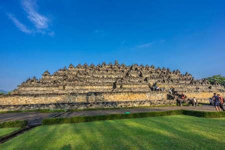 Borobudur Buddhist temple (Candi Borobudur). Built in 9th century, cataloged as UNESCO World Heritage Site. Magelang, Central Java, Indonesia Editorial