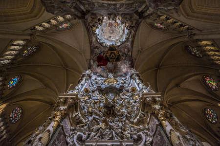 Toledo, Castille la Mancha, Spain - April 04, 2017: Altar del Transparente, Baroque altarpiece in the ambulatory of the Cathedral of Toledo