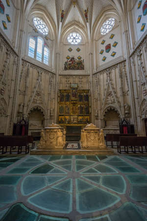 Toledo, Castille la Mancha, Spain - April 04, 2017: Toledo Cathedral, Chapel of Saint James (Capilla de Santiago) Gothic Toledan style funeral chapel with a star shaped, arch ribbed vault.