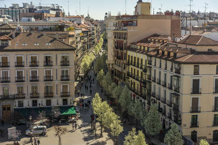 Madrid, Spain. March 20, 2017. Blooming cherry trees from Plaza de Isabel II along Arenal street (Calle del Arenal) to Puerta del Sol square and clock tower.