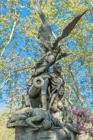 Monument for the Heroes of The Second of May (Heroes del dos de mayo) Bronze sculptural group made by Aniceto Marinas. Located at General Fanjul Gardens Near Plaza de Espana, Madrid
