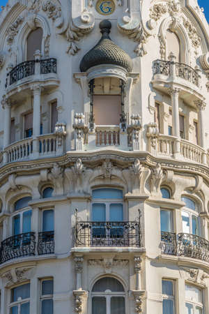 Beutiful Art Nouveau Building House of Gallardo or Casa Gallardo. Located at Calle Ferraz Street and Plaza de Espana Square crossing in Madrid, Spain. Declared Spanish Property of Cultural Interest.