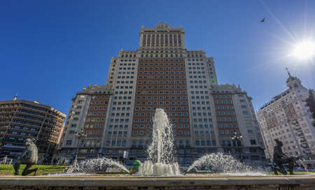 Madrid, Spain -  April 04, 2017 : Plaza de Espana Square Fountain, Edificio Espana Building. Located at the end of Gran Via Street