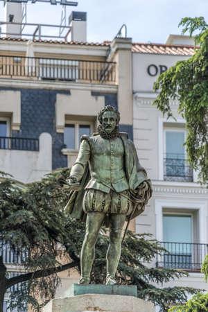 Statue of Miguel de Cervantes by Antonio Sola, commissioned by Jose Bonaparte. Located at Plaza de las Cortes Square in Madrid, Spain. Editorial