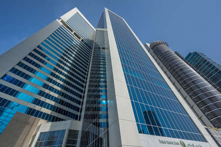 Dubai, July 7, 2015. Street level view of Burlington Tower and Silver Tower. Located in Al Abraj Street, Business Bay.