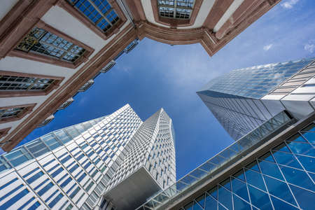 Ground level view of PalaisQuartier building complex. Collection Business Center, Frankfurt Nextower, Palais Thurn und Taxis and Jumeirah Hotel Frankfurt. Stock Photo