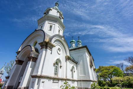 Hakodate, Hokkaido, Japan - May 13, 2016. Russian Orthodox Church and gardens.