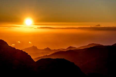Sunset and mountain landscape view of Barranco de Tejeda and Barranco de la Culata from La Ventana del nublo or La Agujereada. One of the higest places in Gran Canaria Island.
