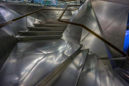 Madrid, Spain. January 9, 2017. CaixaForum Madrid museum entrance metal staircase.