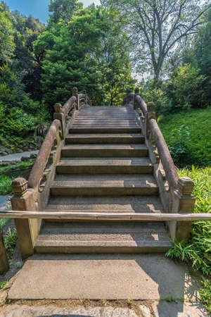 Engetsu-kyo stone bridge at Koishikawa Korakuen Garden. Located in Bunkyo Ward, Tokyo, Japan Stock Photo