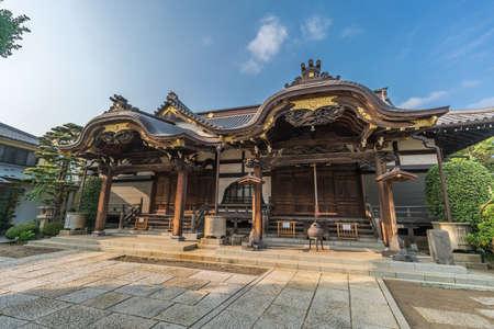 Tokyo - August 6, 2018 : Honden Main Hall of Daienji Small nichiren buddhist sect temple dedicated to Harunobu. Located in Yanaka district.