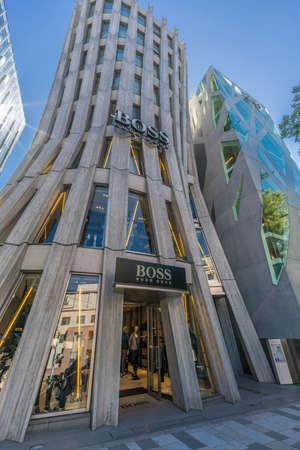 Tokyo, Shibuya Ward - August 17, 2018 - Hugo Boss building designed by renowned Japanese architect Norihiko Dan. Located in Omotesando