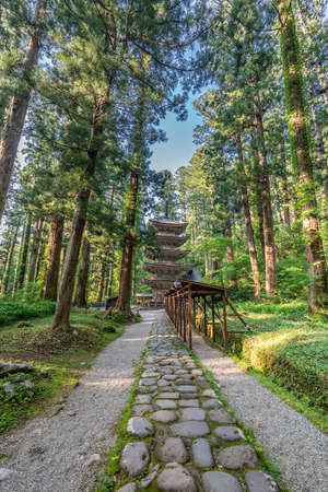 Five Story Pagoda surounded by Sugi trees at Mount Haguro, One of the three sacred mountains of Dewa Province (Dewa Sanzan). Located in Yamagata Prefecture, Japan.
