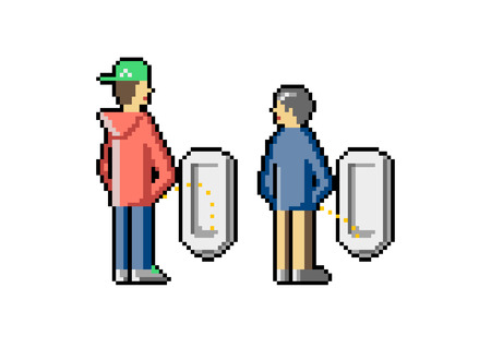 Jóvenes y viejos orinan en un baño público. Aproveche la oportunidad de hablar con cualquier persona en todas partes. Competencia en un baño. Celos de la gente. Arte de pixel. Vector