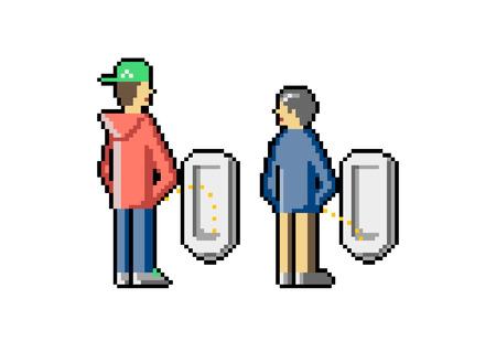 Junge und alte Männer pinkeln in einer öffentlichen Toilette. Nutzen Sie die Chance, mit jedem überall zu sprechen. Wettbewerb im Badezimmer. Eifersucht der Leute. Pixel Kunst. Vektor