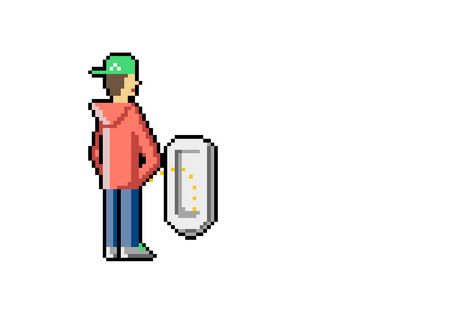 Young is Peeing in a Public toilet. Pixel art. Vector.