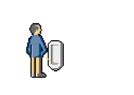 Old Man is Peeing in a Public Toilet. Pixel art. Vector.
