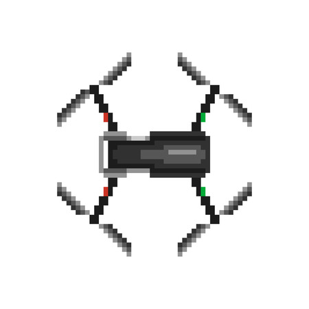 Flat Isolated Pixelated Icons of Drone. Vector Pictograms on White Background.