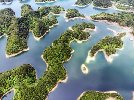 Aerial View of Thousand Island Lake. Bird View of Freshwater Qiandao Hu. Sunken Valley in Chunan Country, Hangzhou, Zhejiang Province, China. Фото со стока - 101223596