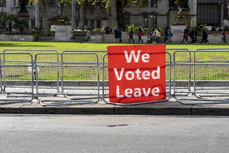 Single Red Banner on the Parliament Square Supporting Brexit - We Voted Leave.