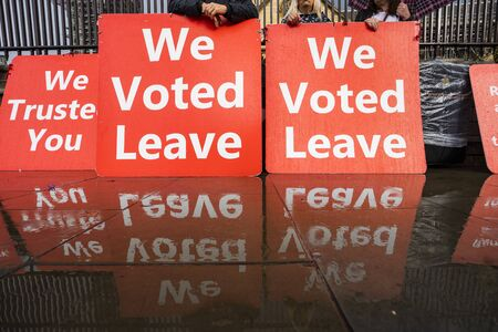 Bunch Red Posters Supporting Brexit - We Voted Leave.