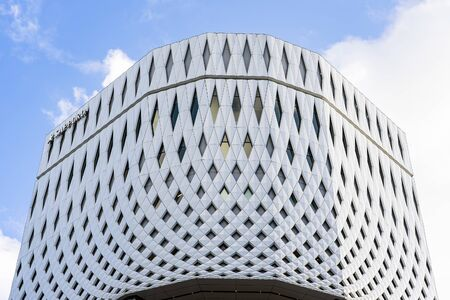 White Panels And Parametric Facade. Building Made From Stretched White Tile. 写真素材