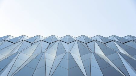 Closeup View Of Diamond Shape Curtain Walls. Clear Glass Crystal Windows Of Building. Spandrel Facade System And Sky