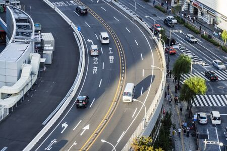 TOKYO, JAPAN - OCTOBER 6, 2018. Close Up View Of Elevated Road In Tokyo, Japan. Japanese Highway Does Turn.