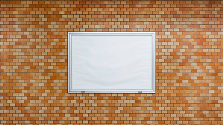 Billboard Underground Brick Wall Mural Blank Isolated White Clipping Poster.