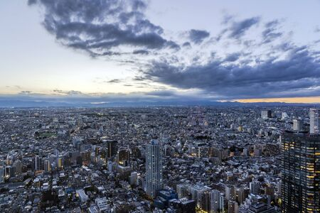 Sunset of Tokyo Skyline and the Illuminated City. Lights in Windows and Dusk View of Big Endless City.