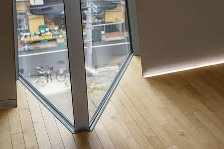 Inserted Curtain Wall Window Timber Floor. Detailed Joint of Corner. Lighting Skirting Board.