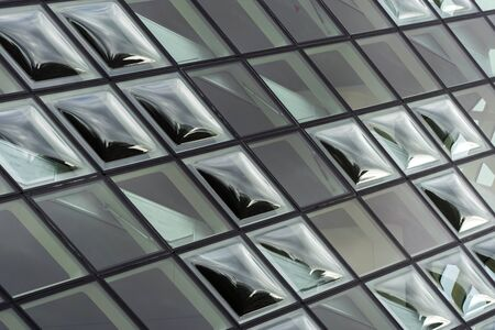 Double Curve Convex Glass Windows. Clear Glazing Facade System. The bubbles of Glass Panels.
