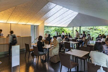TOKYO, JAPAN - OCTOBER 8, 2018. Japanese People are Having Coffee in a Cafe in the Forest. Restaurant in the Garden. Couples and Nature.