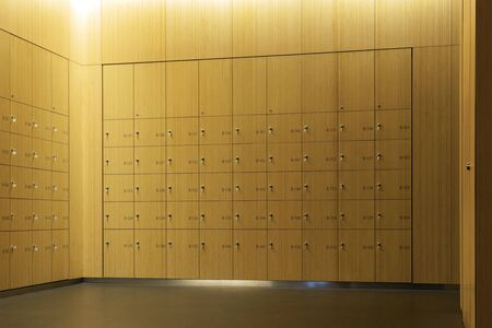 Inserted Lockers in the Wall. Bamboo Panels in the Interior. Empty Room of the Changing or Fitting Room. Banco de Imagens