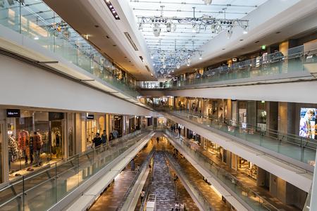 TOKYO, JAPAN - OCTOBER 7, 2018. Interior of Omotesando Hills, Shopping Mall Designed by Tadao Ando.