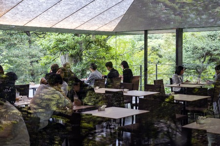 TOKYO, JAPAN - OCTOBER 8, 2018. People are Having Coffee in a Cafe in the Forest. Restaurant in the Garden. Couples and Nature. Redactioneel