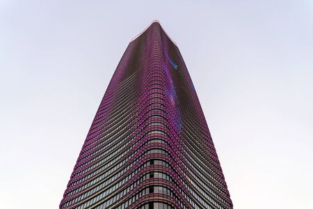 CHINA, SHANGHAI - OCTOBER 25 , 2018. W Hotel Tower and LED Screen on the Facade