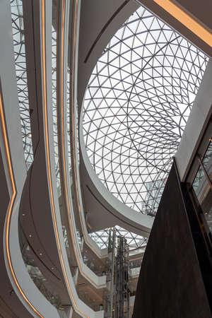 Double Curve Architectural Glass Steel Structure of a Dome or Skylight above an Atrium of a Shopping Mall.