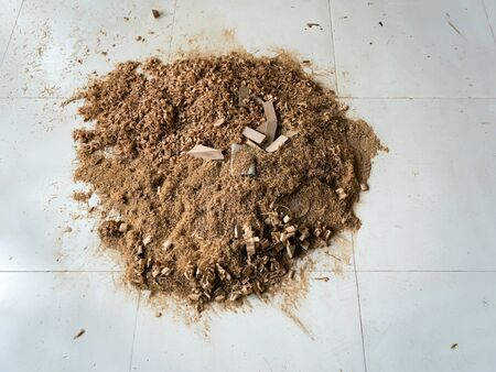 Wood Sawdust on White Tile Floor Background. Wooden Waste Saw Dust.