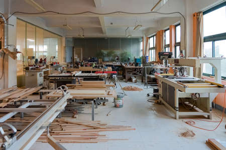 Interior Space of Woodwork Workshop. Set of Carpenter's Equipment and Work Benches in Joiner's wood Shop. 에디토리얼