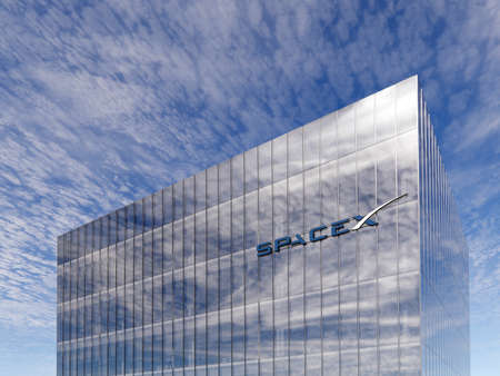 June 15, 2020, Editorial Use Only, 3D CGI. SpaceX Glowing Signage Logo on Top of Glass Building. Workplace in High-rise Office Headquarter at Day Time.
