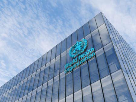 June 15, 2020, Editorial Use Only, 3D CGI. World Health Organization Signage Logo on Top of Glass Building. Workplace in High-rise Office Headquarter at Day Time. 에디토리얼
