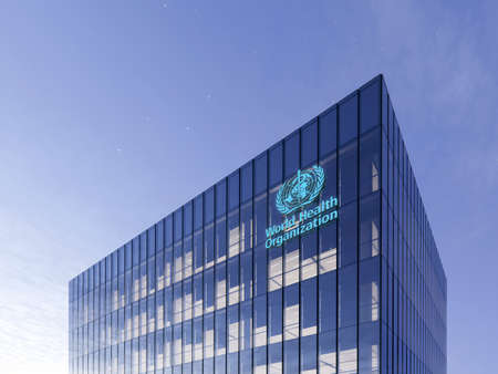 June 15, 2020, Editorial Use Only, 3D CGI. World Health Organization Signage Logo on Top of Glass Building. Workplace in High-rise Office Headquarter at Night Time. 에디토리얼