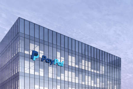 San Jose, CA, USA. February 27, 2021. Editorial Use Only, 3D CGI. PayPal Holdings Signage Logo on Top of Glass Building. Workplace Internet Online Payment Company Office Headquarter.
