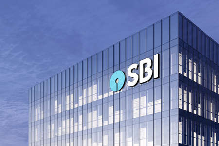 Mumbai, India. February 27, 2021. Editorial Use Only, 3D CGI. SBI Banking Signage Logo on Top of Glass Building. State Bank of India Corporation Company in High-rise Office Headquarter.