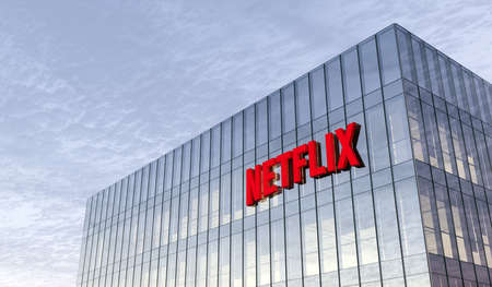 Los Gatos, CA, USA. February 17, 2021. Editorial Use Only, 3D CGI. Netflix Signage Logo on Top of Glass Building. Workplace in High-rise Office Headquarter. Редакционное